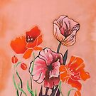 Peach poppies 1 by Angel Ray