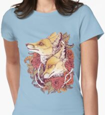 Red Fox Bloom Womens Fitted T-Shirt