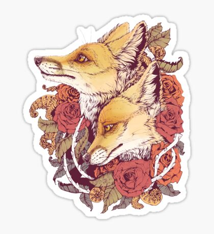 Red Fox Bloom Sticker