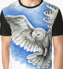 Snow Owl in Flight Graphic T-Shirt