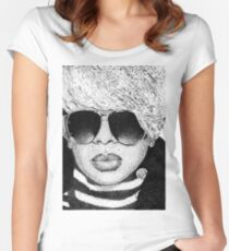Black & White Mary J. Blige in Dots Women's Fitted Scoop T-Shirt