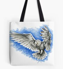 Snow Owl in Flight Tote Bag
