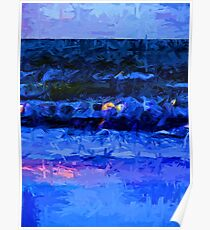 Wild Blue Sea under the Lavender Sky Poster