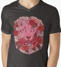 Camiseta para hombre de cuello en v León de rosas