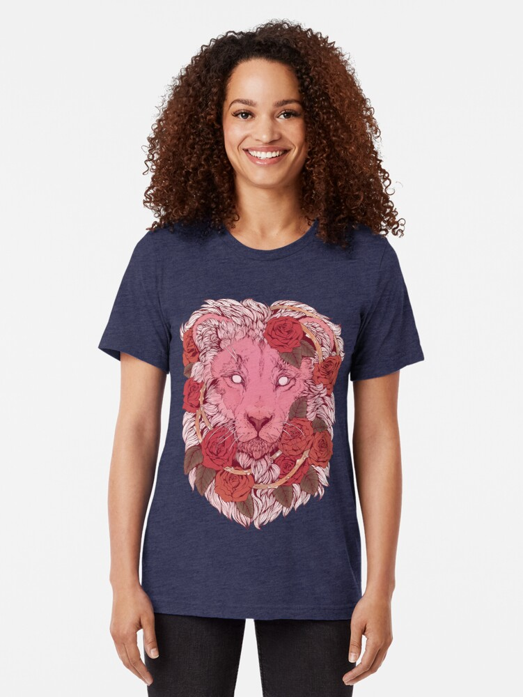 Alternate view of Lion of Roses Tri-blend T-Shirt