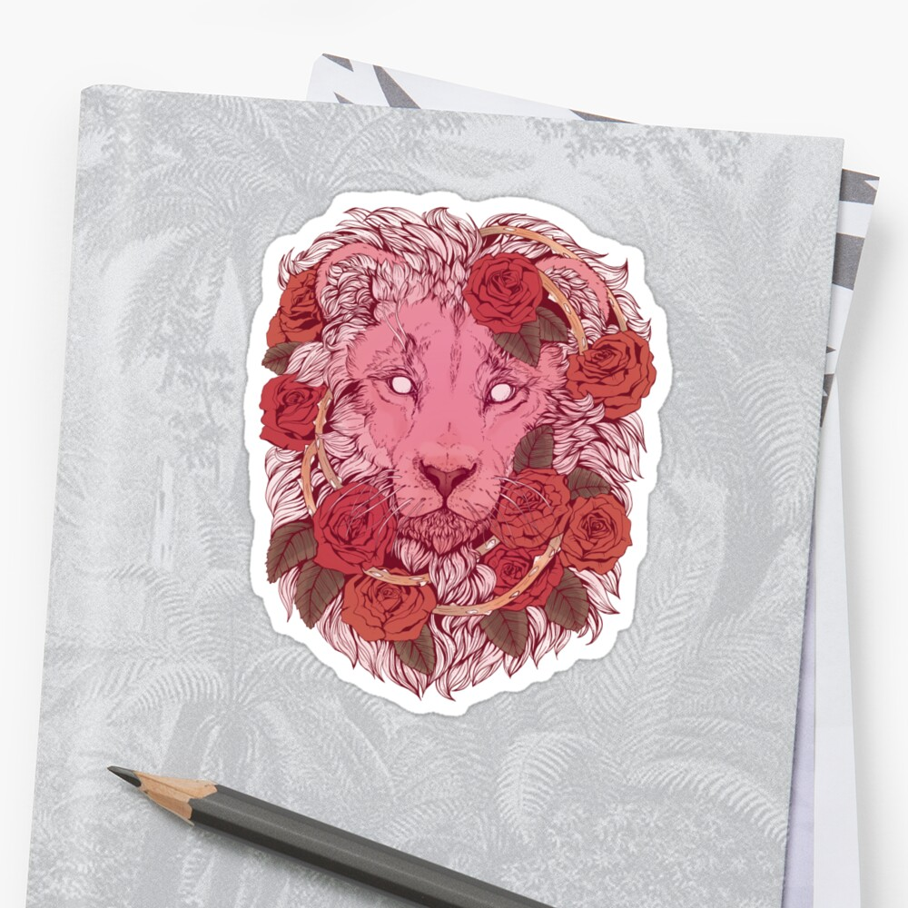 Lion of Roses Sticker Front