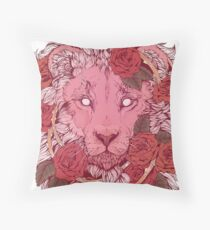 Lion of Roses Throw Pillow