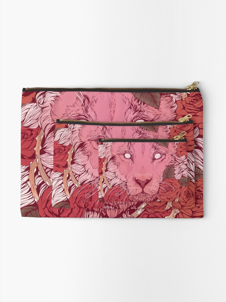 Alternate view of Lion of Roses Zipper Pouch