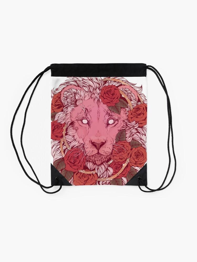 Alternate view of Lion of Roses Drawstring Bag