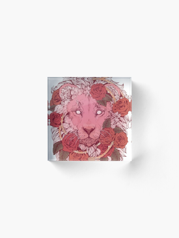Alternate view of Lion of Roses Acrylic Block