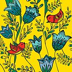 Red Birds & Blue Flowers by RobynLee