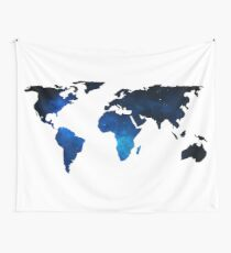 World Map Space Planet Blue Wall Tapestry