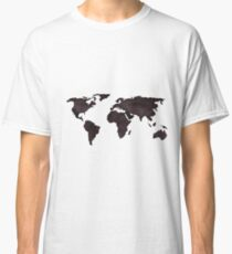 World Map Deep Brown Ink Watercolor Classic T-Shirt