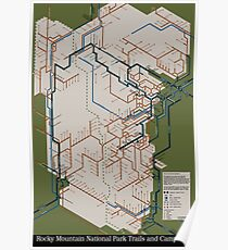 Rocky Mountain National Park Trails and Campsites Poster