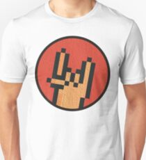 Gritty Pixel Rock On! Hand with Red Background Unisex T-Shirt