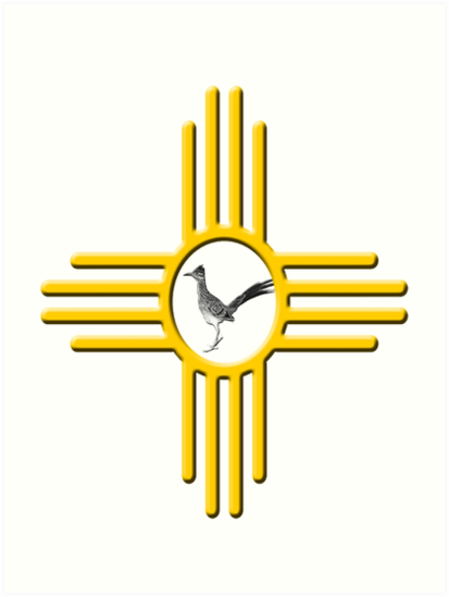 New Mexico Roadrunner Zia Symbol Art Prints By Newmexicotees