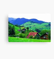 Swiss Chalets in Watercolour Canvas Print