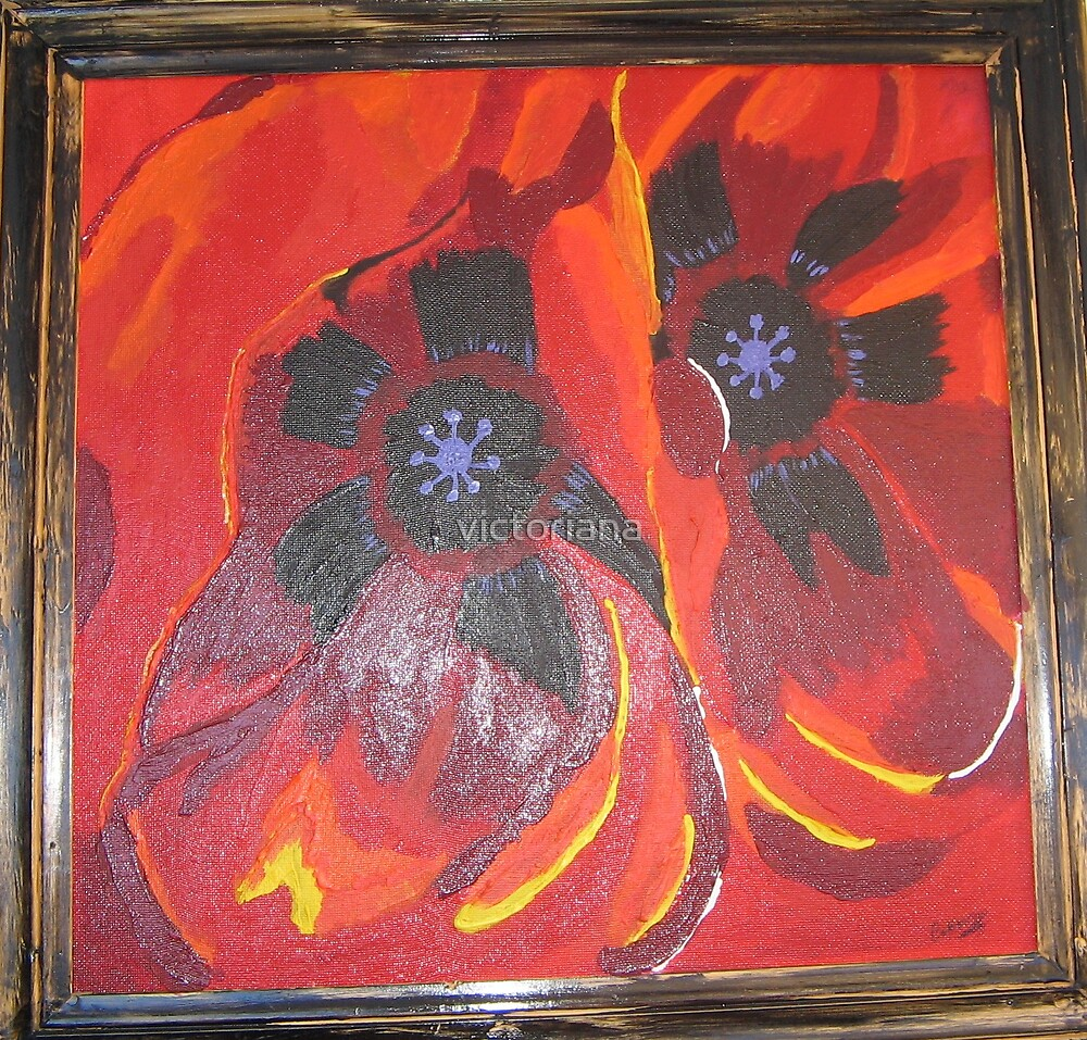 red flower by victoriana