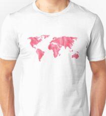 World Map Pink Watercolor Unisex T-Shirt