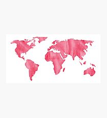 World Map Pink Watercolor Photographic Print