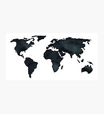World Map Black Watercolor Ink Photographic Print