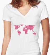 World Map Hot Pink Glitter Sparkles Women's Fitted V-Neck T-Shirt