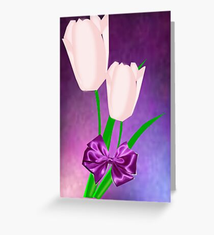 2 Pink Tulips (8987 Views) Greeting Card