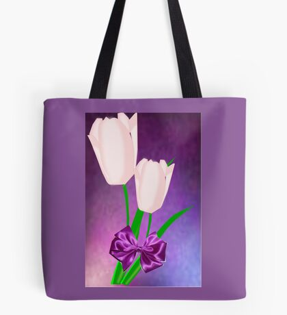 2 Pink Tulips (9016 Views) Tote Bag