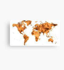 World Map in Orange Desert Sand Canvas Print