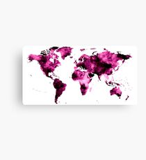 World Map in Pink Paint Canvas Print