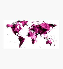 World Map in Pink Paint Photographic Print