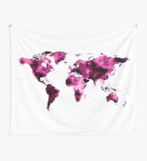 World Map in Pink Paint Wall Tapestry