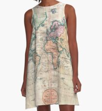 Vintage World Map 1801 A-Line Dress