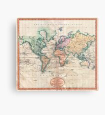 Vintage World Map 1801 Metal Print