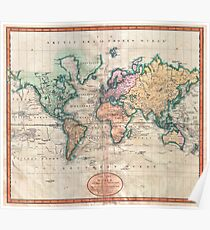 Vintage World Map 1801 Poster