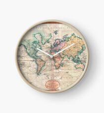 Vintage World Map 1801 Clock