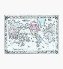 Vintage World Map 1855 Photographic Print