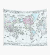Vintage World Map 1855 Wall Tapestry