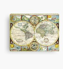 Vintage World Map Antique Canvas Print