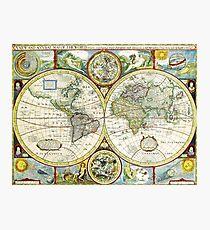 Vintage World Map Antique Photographic Print