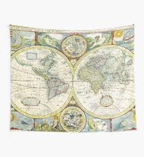 Vintage World Map Antique Wall Tapestry
