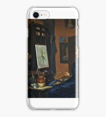 """George Wimpenny (British, ), """"Clara Potts Sitting at an Easel Painting a Still Life of Flowers"""" iPhone Case/Skin"""