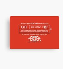 Rated Geek (white version) Canvas Print