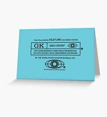 Rated Geek (black version) Greeting Card