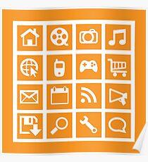 Web icon graphics (orange) Poster