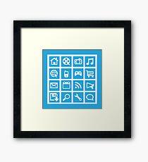 Web icon graphics (blue) Framed Print
