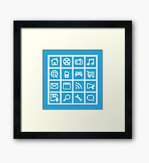 Web icon graphics (blue) Framed Print