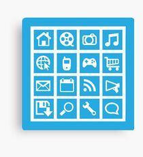 Web icon graphics (blue) Canvas Print