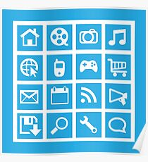 Web icon graphics (blue) Poster
