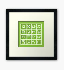 Web icon graphics (green) Framed Print